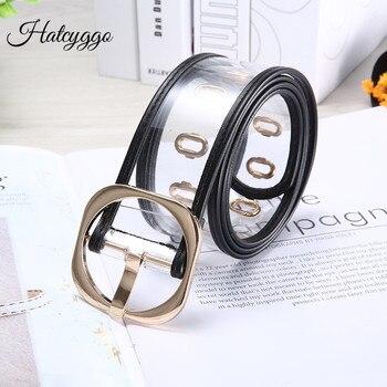 HATCYGGO moda cinturón transparente Mujer oro Metal cuadrado hebilla ajustable PVC ancho cinturón mujeres Chic plástico cintura cinturones