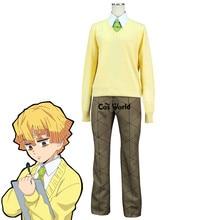 Demon Slayer: Kimetsu no Yaiba Agatsuma Zenitsu Зимняя школьная униформа, свитер, рубашка, штаны, наряд аниме, костюмы для косплея