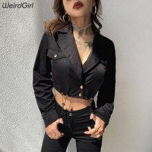 Weirdgirl autumn 2019 slim sexy jackets women outerwear single breasted short top v-neck full sleeve high waist girl punk style