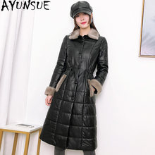 AYUNSUE Real Leather Jacket Women Sheepskin Coat Female Down Jacket Raccoon Dog Fur Collar Woman Parkas Cuero Genuino TF16830(China)