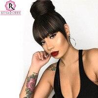 Brazilian Human Hair Blunt Bangs Clip In Human Hair Extension 100% Human Hair Products Natural Black Rosa Queen