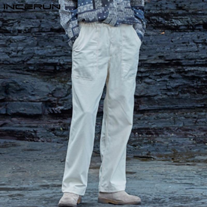 INCERUN Men Harajuku Solid Straight Leg Pants Casual Trousers Fashion Cotton Fashion Mens Stretch Elastic Sweatpants Joggers