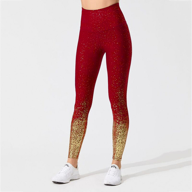 Фото пуш ап штаны для йоги бесшовные женские бронзовые леггинсы с