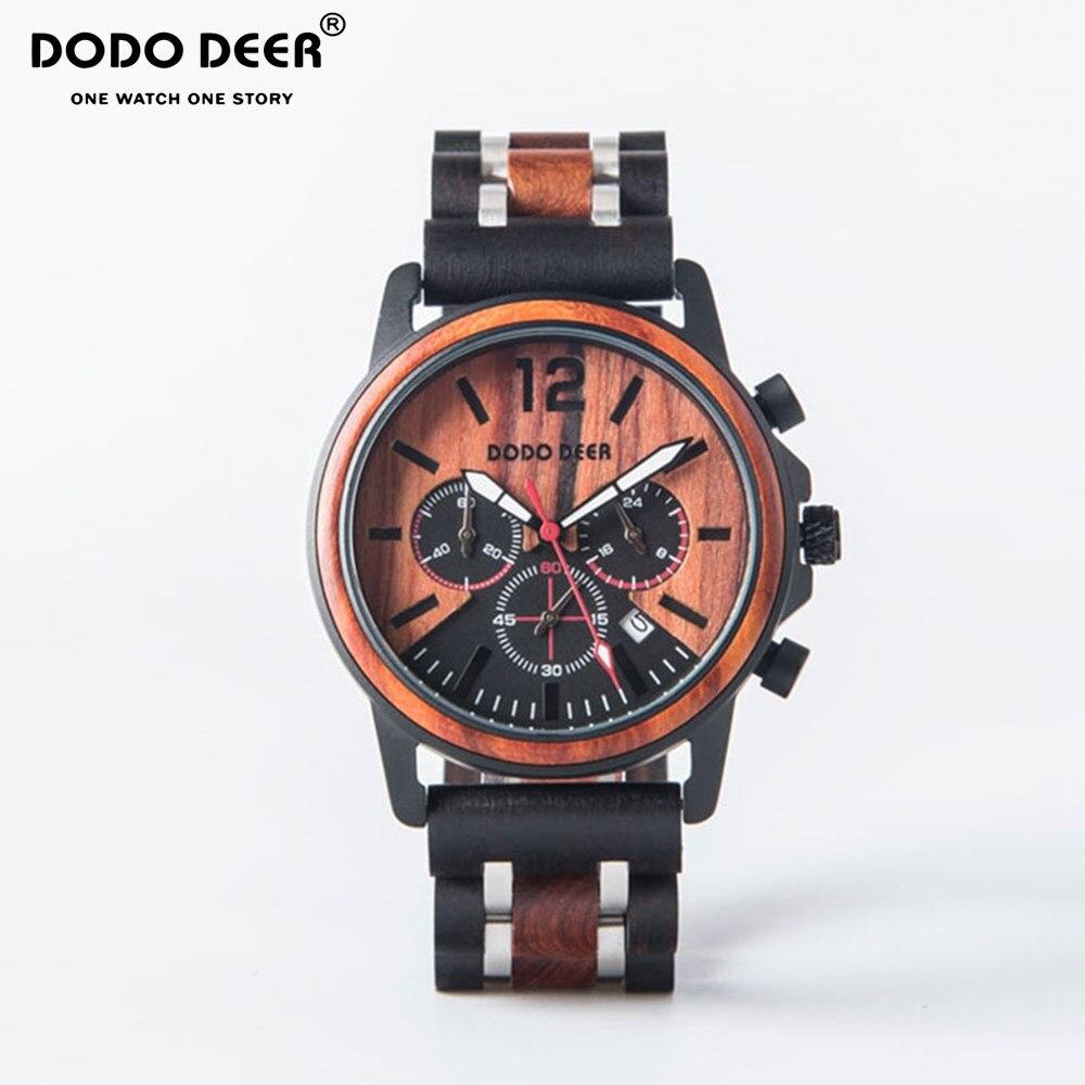 DODO DEER 2019 Men's New Stainless SteelWooden Watch Reloj de los hombres Custom Engraving Watch Men's Fashion Watch Clock C15 1|Quartz Watches| |  - title=