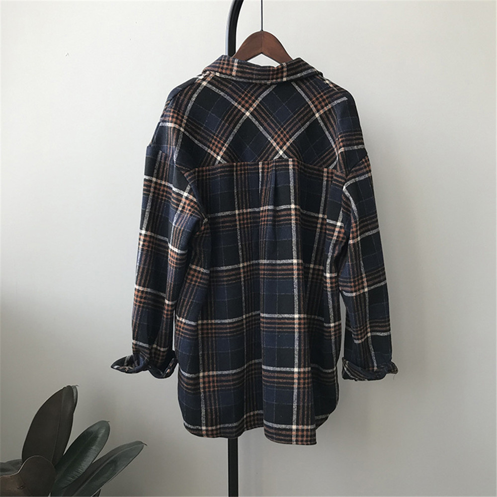 Spring Thick Loose cotton plaid Women blouses shirt 2020 female long sleeve Casual Warm women Blouse shirt office lady top Y0675 (26)