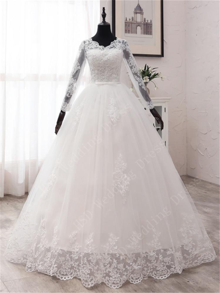Wedding-Dresses Spring Appliques Lace Vestidos-De-Novia Long-Sleeve White Plus-Size New