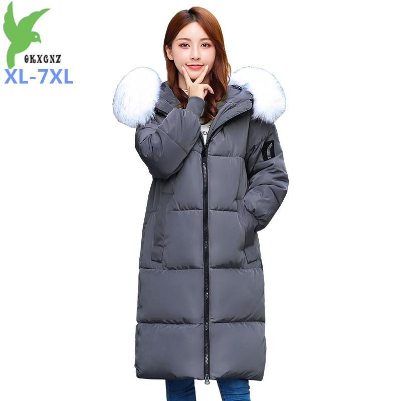 2019 Plus Size XL-7XL Women Winter Parkas Down Cotton Jacket Fur Collar Hooded Thicken Long Cotton-padded Jacket Large Size 2915