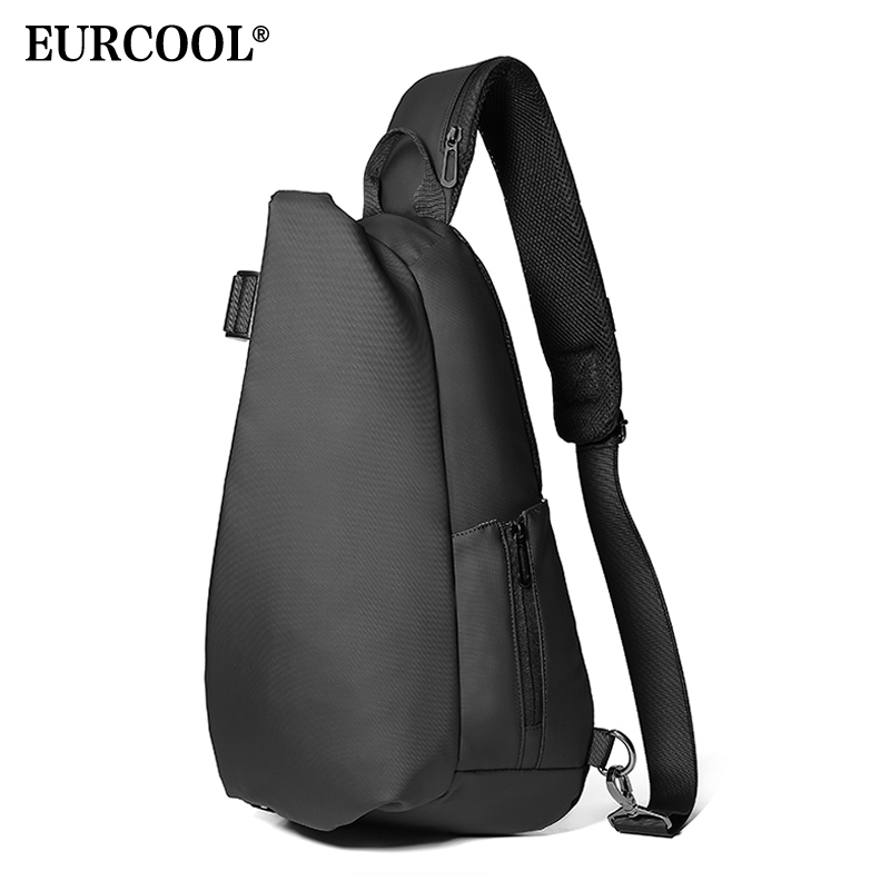 EURCOOL Men Chest Bag For 12 inch ipad Multifunction Crossbody Bags USB Charging Travel Shoulder Bag Water Repellent n1850