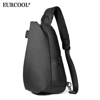 EURCOOL Men Chest Bag For 12 inch ipad Multifunction Crossbody Bags USB Charging Travel Shoulder Bag Water Repellent n1850 - DISCOUNT ITEM  50% OFF All Category