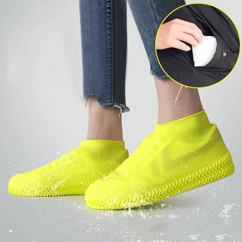 Reusable Waterproof Silicone Shoe Covers Slip-resistant Rain Boots Women Men Shoes Cover Protectors For Indoor Outdoor Camping