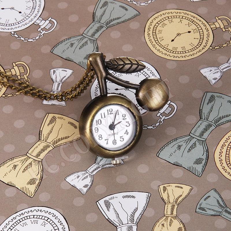 Cute Mini Vintage Retro Fob Pocket Quartz Watch Fruits Cherry Shape Fruit Shape Necklace Watch Free Chains