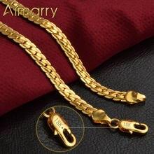 Aimarry 925 Sterling Silber 18K Gold 5MM Volle Sideways Halskette Für Frauen Männer Party Geschenke Mode Engagement Hochzeit schmuck