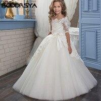 Short Sleeve Flower Girl Dresses for Weddings Scoop Beads Belt vestidos para niñas Comunion kiz cocuk elbise