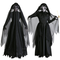 Halloween Scary Vampire Bride Costumes for Women Adult Witch Dress Disguise Disfraz Carnival Party Performance Clothing
