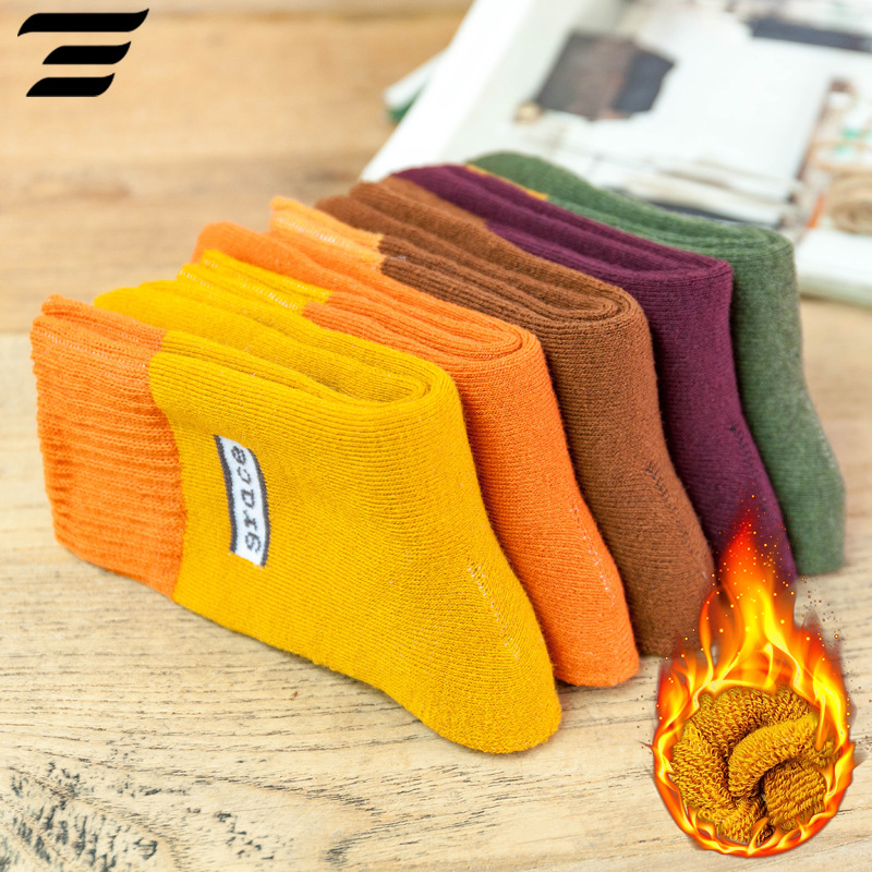 1pair New Winter Thick Warm Wool Terry Towel Women Sock Vintage Christmas Grace Socks Colorful Socks Gift Winter Cute Sokken