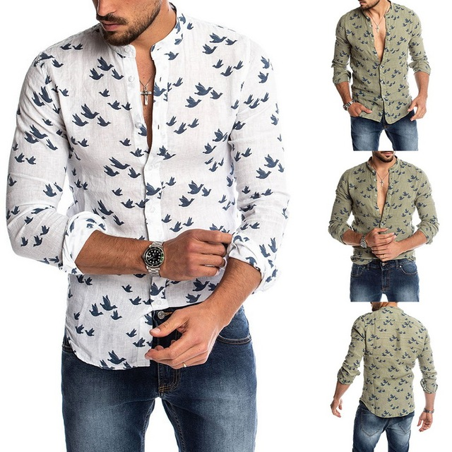 Oeak Hawaiian Shirt Long Sleeve Wild Goose Print Button Linen Shirts Summer Camisas Hombre Mens Shirts Casual Slim Fit Blusa New 3