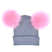 2 Pcs ouder-kind Hoed Moeder Kind Baby Warm Winter Knit Beanie Bont Pom Hoed Haak Ski Cap Nieuwe(China)