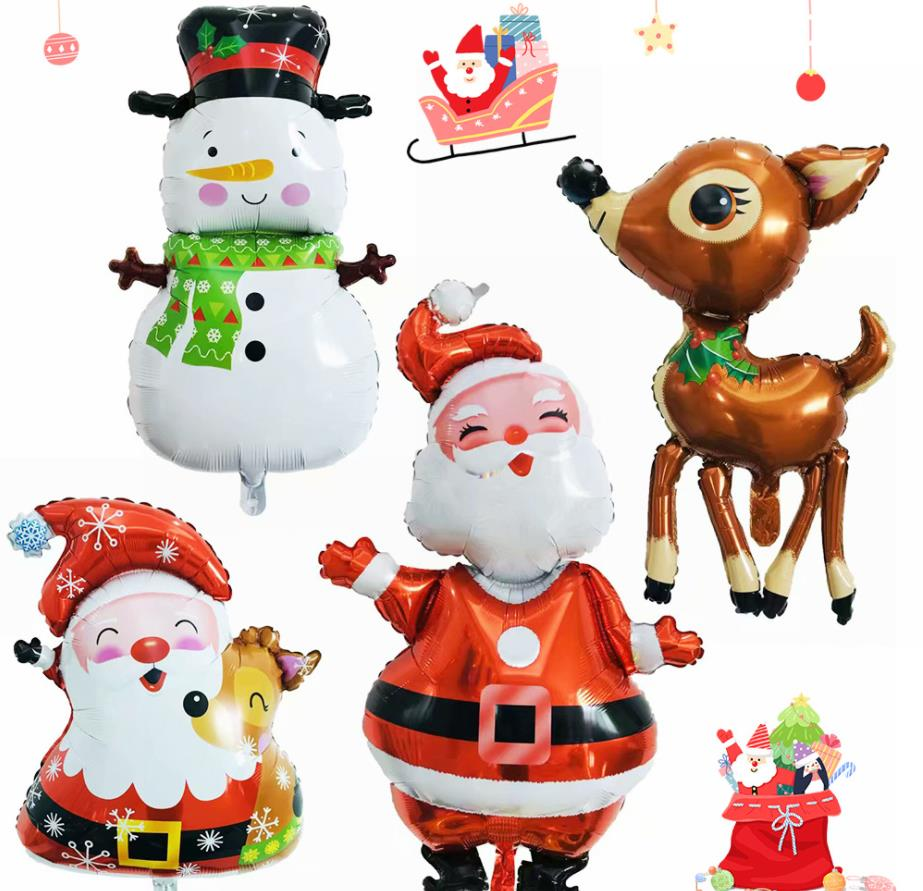 Christmas Day Foil Air Balloons Bells Snowman Santa Claus Christmas Tree Decoration Party Supplies Cartoon Hat