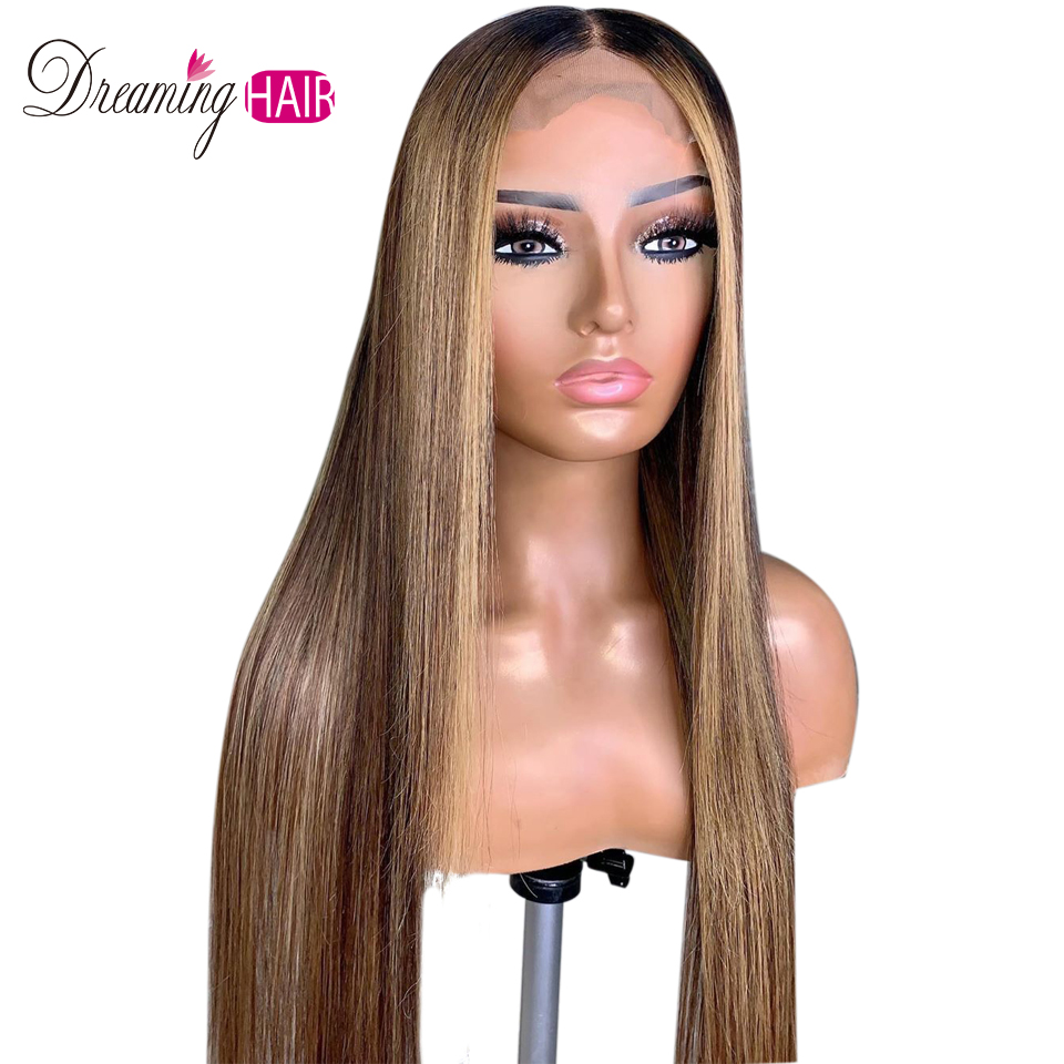 H8298deb577224e53b2401553fd9dbd1ez Highlight 13x6 Deep Part 1B 27 Ombre Honey Blonde Brazilian Straight Hair Lace Front Human Hair Wigs Pre Plucked With Baby Hair