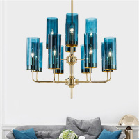 Modern Blue/amber Glass Lampshades E14 Led Chandelier Lustre Plate Shiny Gold Chandelier for Living Room Dining room lamps