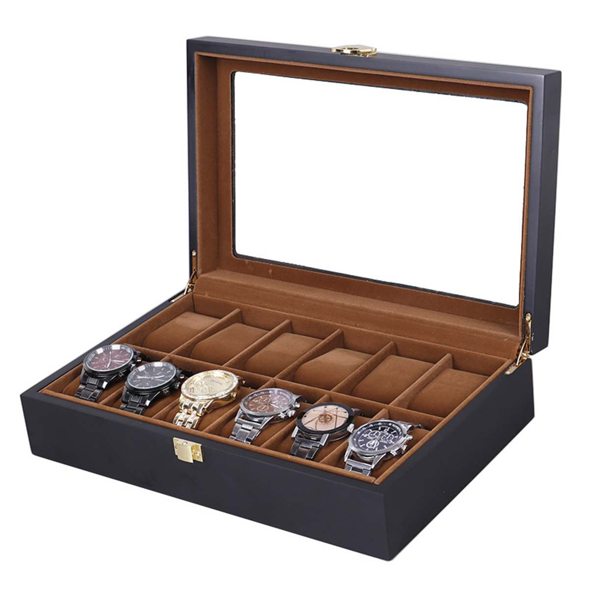 Wooden Watch Box 6/10/12 Grids Black Luxury Watch Storage Box With Window Jewelry Case Display Package Case Decent Gift For Men