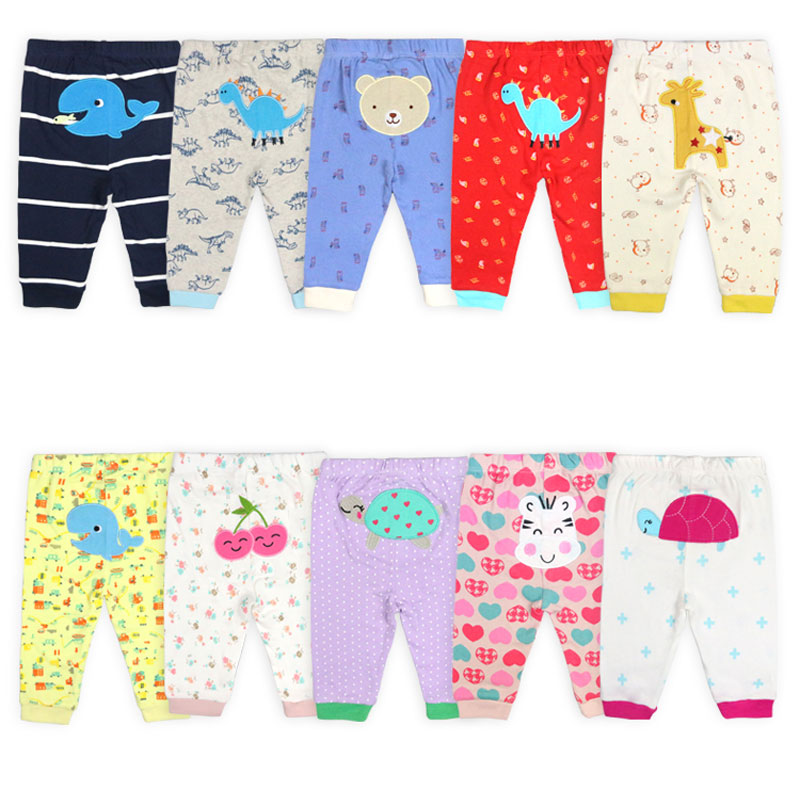 [2Pcs/lot Random Color]Newborn Baby Pants Cartoon Print Baby Girl Clothes Spring Autumn Toddler Boy Trousers Cotton Toddler Pant