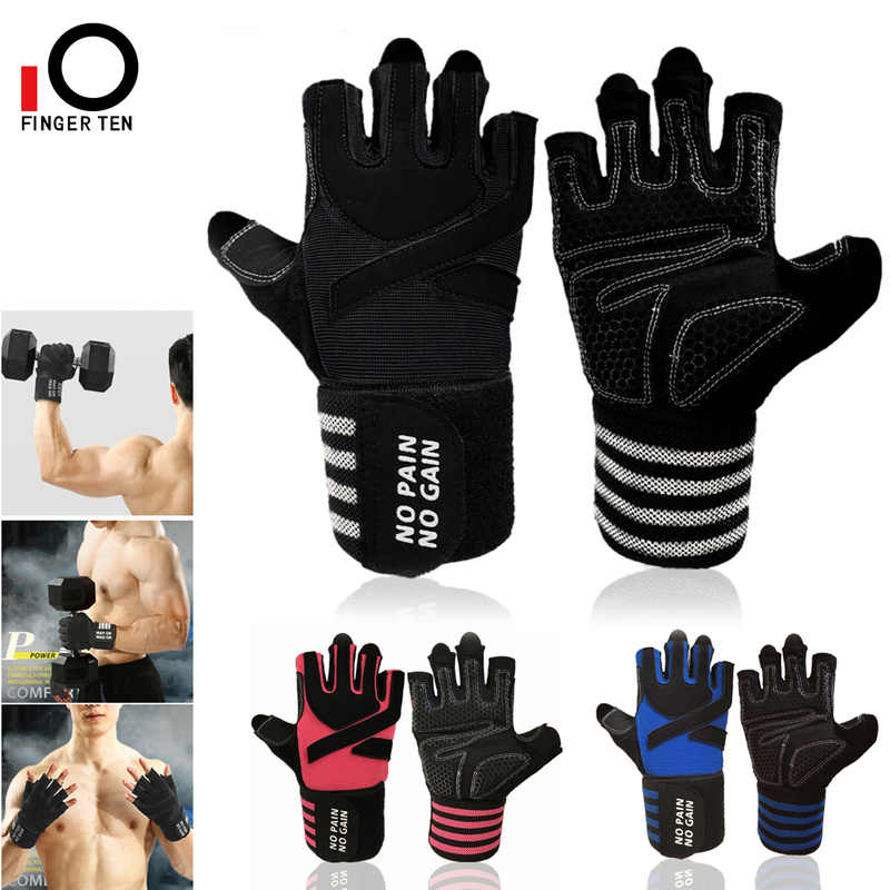 Rowing Weightlifting Hanging Training Anti-Slip Grip Half Finger Gloves for Exercise Weight Lifting Gloves Work Out Gym Gloves Men Women Crossfit with Wrist Wraps Support Biking