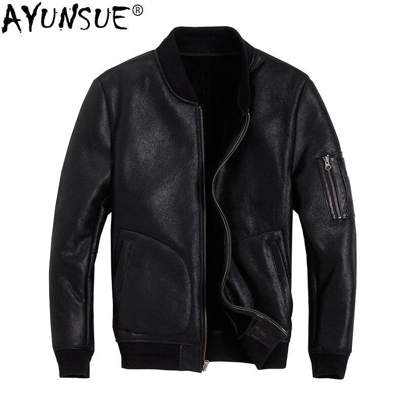 AYUNSUE Men's Genuine Leather Jacket Winter Coat Sheep Shearling Jacket Men Bomber Motorcycle Sheepskin Leather Jackets KJ2915