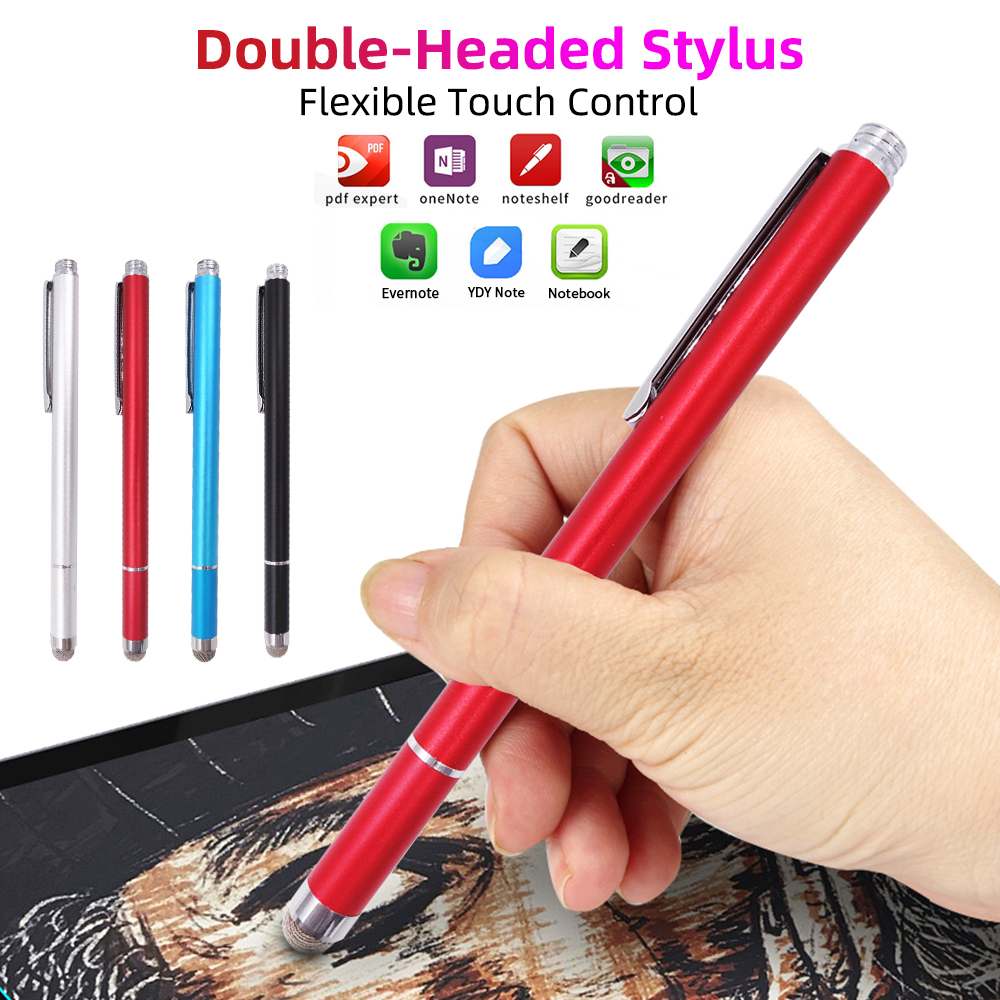 Universal Fiber Stylus Pen Smartphone Tablet Touch Pencil Press Drawing Replacement Nib Metal Hook Mobile Phone Accessories