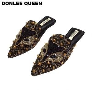 Image 5 - Women Slippers Slides Flat Casual Shoes Women Slip On Mules Fox Pattern Bling Rhinestone Rivet Slipper Women Flip Flops Mujer 19