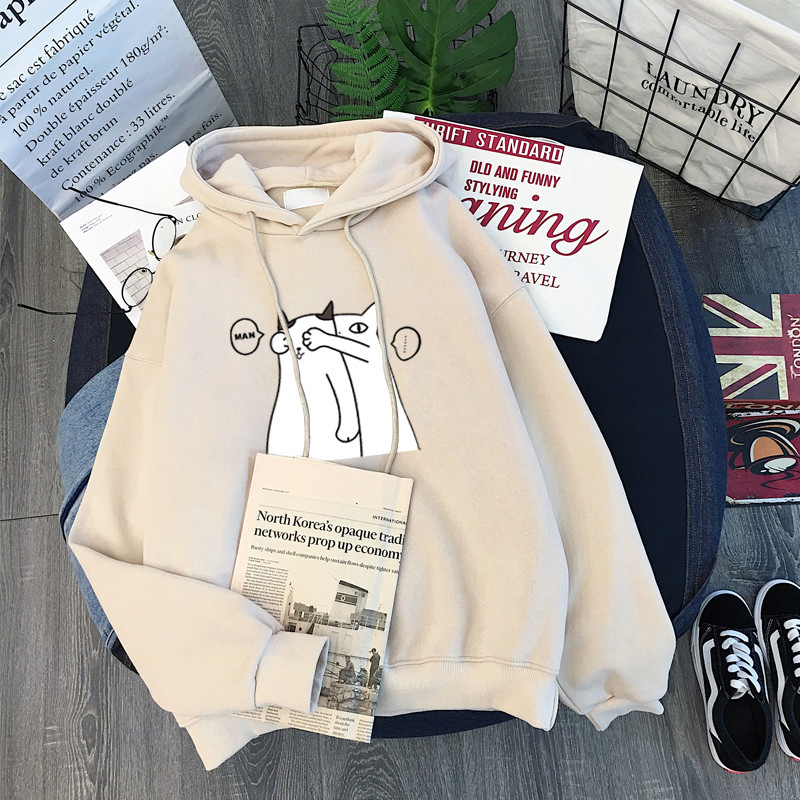 Winter Women Hoody Sweatshirt Print Hide And Seek Couple Kitten Harajuku Lady Pullover Casual Students Long Sleeves Tops Female