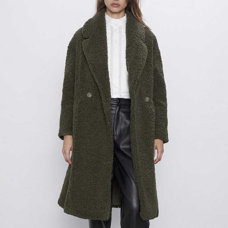 2020 ฤดูใบไม้ร่วงฤดูหนาวหนาอุ่น Faux Lamb FUR Coat Casual หลวมเสื้อ Teddy เสื้อคลุมยาวผู้หญิงยาว Outwear Chamarras De mujer