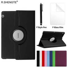 360 Rotating Case for Huawei MediaPad T3 10 9.6'' / Honor Play Pad 2 9.6 Tablet Case Folio Leather Stand Cover With Pen+Film eagwell 360 rotating case for huawei mediapad t3 10 9 6 litchi pu leather flip stand tablet cover skin for huawei t3 10 case