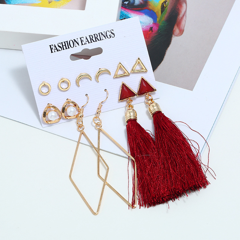 Bohemian Flower Earrings Charm Fashion Creative New Tassel Earrings Temperament Lady Long Net Red Women Wholesale Earrings image