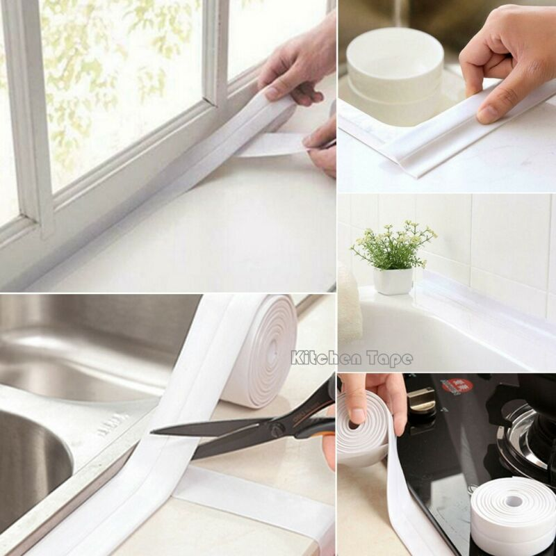 2.2cm*320cm Bathroom Shower Cloth Bath Sealing Strip Tape Caulk Strip Self Adhesive Waterproof Wall Sticker for Bathroom Kitchen image