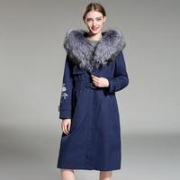 2019 Winter Jacket Women Long Parka Real Fur Coat Big Raccoon Fur Collar Hood Embroidery Parkas Natural Rabbit Lined Outerwear