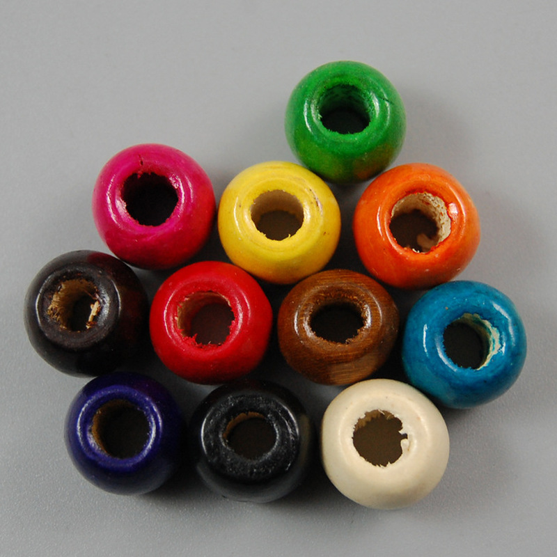 100 шт./упак. Разноцветные деревянные бусины для оформления поделок 17x16 мм/8 мм отверстия