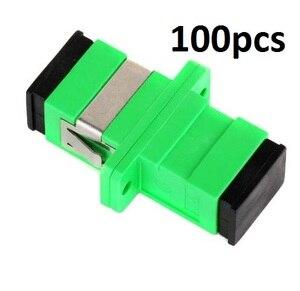 Image 1 - 100pcs SC APC Adapter SM  Optical Flange Coupler Simplex SC Optical Fiber Connector and Coupler Ftth Fiber Optic SC Adapter