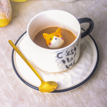 Creative Cartoon Embossed Ceramic Mug Small Animal Mug Cup Cat Coffee Cup with Cup and Saucer Household Milk Cup 1