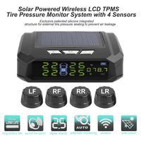 Otomobiller ve Motosikletler'ten Lastik Basınç Alarmı'de VODOOL güneş arabası TPMS irtifa ekran otomatik lastik basıncı izleme lastik sıcaklık Alarm sistemi 4 sensörleri ile araba için