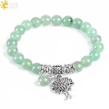 CSJA ใหม่สมาธิสีเขียว Aventurine ผู้หญิงสร้อยข้อมือหินธรรมชาติ Mala ลูกปัด Healing Reiki Tree of Life E748