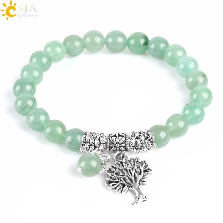 Женский браслет CSJA, новый медитационный зеленый авантюрин, природный камень, зеркальные бусины, лечебное Дерево жизни рейки E748