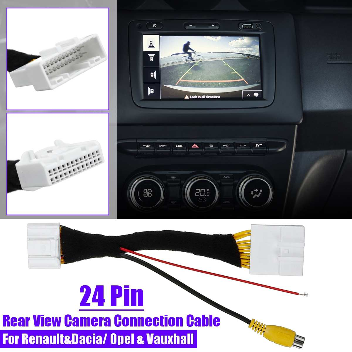 24Pin Adapter Rear View Camera Connection Cable For Renault&Dacia For Opel For Vauxhall For Clio Estate 2012-up For Vivaro 2014+