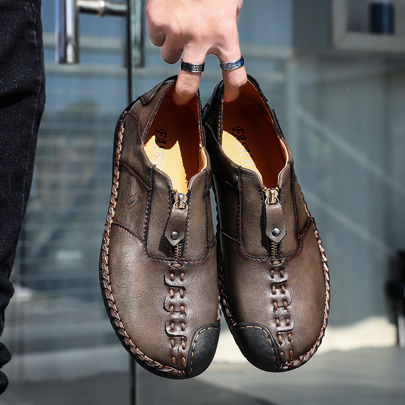 Single-Shoe Head-Foot-Leather Cross-Border Love Male Men Hand England of Round Big-Yards