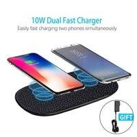 Быстрое беспроводное зарядное устройство 10 Вт Nillkin для 2 телефонов Qi Беспроводная зарядная панель для iPhone XS/X/8 Mi 9 для samsung S8/S9/S10 Подарочный ад
