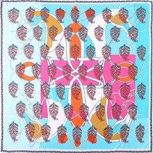 2020 NEW Euro large square twill silk scarf shawls for ladies fashion printing travel beach scarfs Women bandana 130X130CM