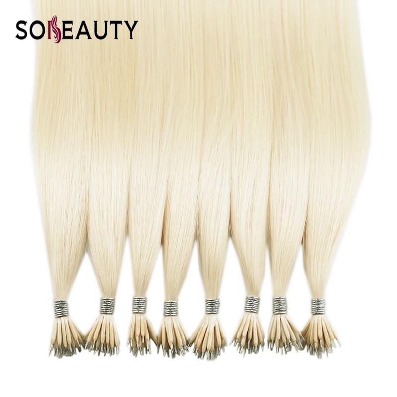 Sobeauty Straight Hair Micro Bead Hair Extensions Nano Hair Extensions 20'' Remy Human Hair Extensions Fusion Hair Extensions