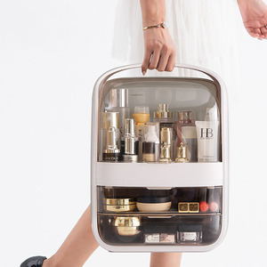 Image 4 - Makeup Organizer Transparent Clamshell 2 Drawer Dressing Table Desktop Plastic Cosmetic Box Storage Containers Jewelry Holder