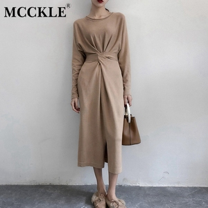Women Long Sleeve Split Knitted A-line Midi Spring Dress High Waist Bandage Lace Up Female New Year Dresses 2020 O-Neck Clothes(China)