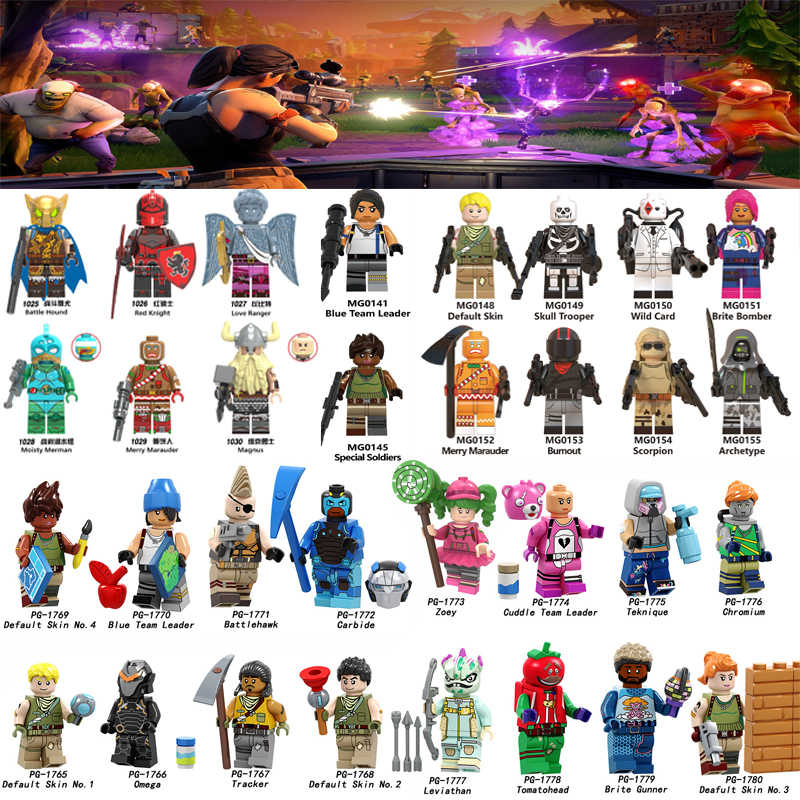 For Fort Game Night Battle Default Skin Skull Trooper Wild Card Brite Bomber Bumout Scorpion Archetype Building Blocks toys